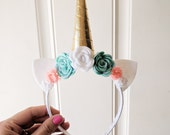 Unicorn Headband | Gold Horn | Teal, White, Pink Flowers