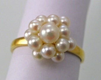 A Vintage 14k Yellow Gold Whimsical Pearl Cluster Ring, Circa 1970 (A1568)