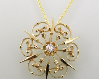 A Filigree Snowflake Pendant with Chain, 14k Yellow Gold and Diamond, Circa 1910's (A1736)