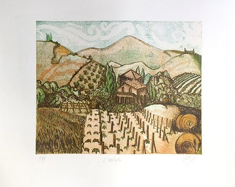 """Waterless Lithography - """"L'Estate"""" - Limited Edition 5 colour prints"""