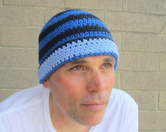 men's cotton beanie/ winter blue stripe crochet