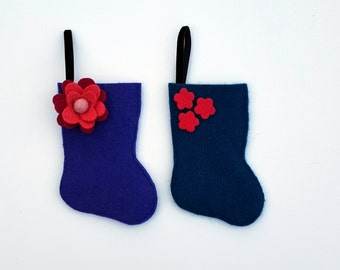 Rescued Wool Stocking Ornament - Set of 2 Gift Card Holder - Recycled Christmas Ornament - Mini Stocking