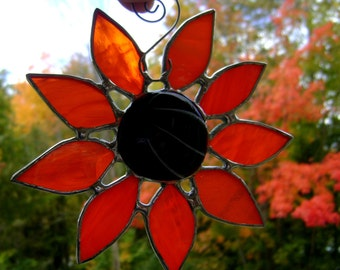 Daisy Sunflower Flowers Stained Glass Black Eyed Susans Suncatcher Garden Sun Jewels Wedding Memorial Mothers Sisters Original Design©