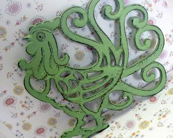 Cast Iron Rooster Trivet Hot Plate Green Shabby Chic Kitchen Decor