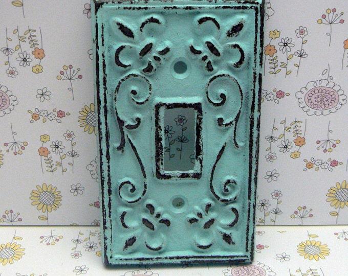 Fleur de lis Cast Iron FDL Light Switch Cover Cottage Chic Beach Blue Home Decor