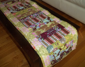 Table Runner Strip Patchwork Quilted Table Runner Amy Butler Boho Mod Decor