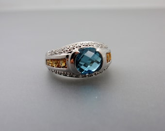 14K White Gold Set With Genuine Multi Colors Semi Precious Gemstone and Diamond Ring