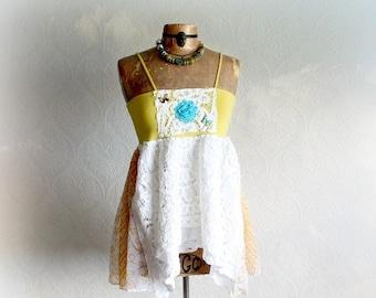 White Eyelet Lace Boho Tank Top Summer Shabby Shirt Babydoll Women Upcycled Gypsy Bohemian Romantic Clothing Flowing Swing Top M 'MCKENNA'