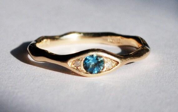 10k Yellow Gold, Faceted London Blue Topaz & White Diamond Eye Ring