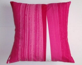 SUMMER SALE - Throw Pillow Cover, Handmade Abstract Pretty Pink Stripes Cushion Cover, Bold Pretty Pink & White Striped Accent Pillow Cover