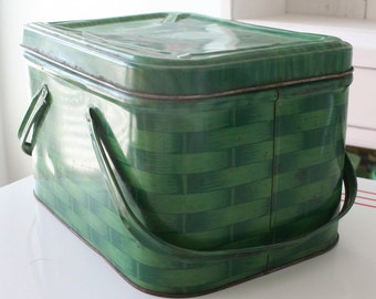 Vintage Metal Green Picnic Basket