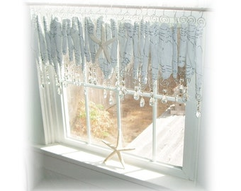 Romantic Beachy Whitewashed Driftwood   Window Treatment Valance Curtain