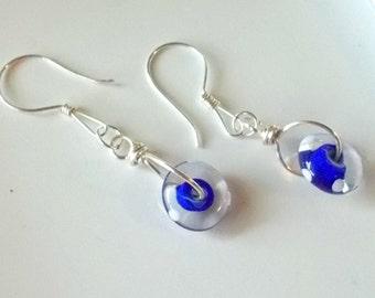 Earrings - glass donut on silver