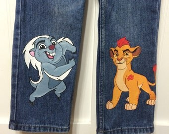 Choice of 2 Characters Hand Painted Disney Lion Guard Long jeans  0-24 months, 2- 12 teen