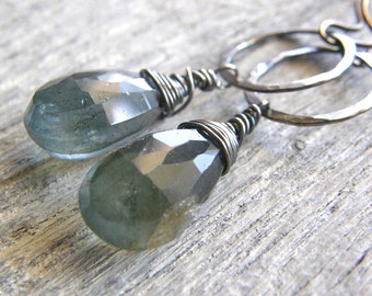 Discounted Moss Aquamarine Sterling Silver Circle Earrings