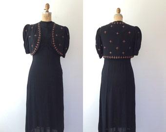 1940s dress / beaded 40s dress / 40s Coralina dress