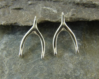 Lucky Wishbone - Sterling Silver Charms - One Pair - clwb