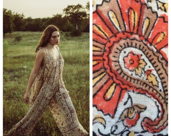 INDIAN tapestry JUMPSUIT in Sunset Paisley vintage bell bottom sash tie