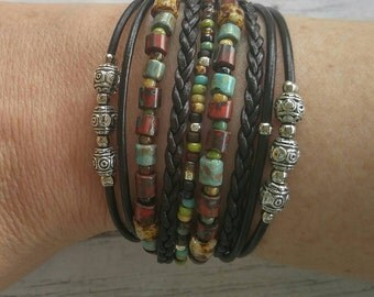 Boho Brown MultiStrand Leather Bracelet// Stacking Bracelet// Beaded Bracelet// Turquoise & Red Czech Picasso Beads// Bohemian Jewelry