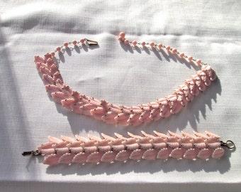 PINK Vintage Necklace and Bracelet Jewelry Set/ Midcentury/ Statement Jewelry/Choker/ Spring /2 piece/ Costume Jewelry Set