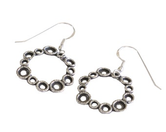 Handmade Round Retro Earrings, 925 Silver Earrings, Unique Designer Women Earrings, Israel Jewelry, Oxidized 925 Silver Circles Earrings