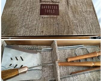 Barbeque Tools Set Vintage Duncan Heinz Original Box Metal With Wood Handles Knife Spicket Tongs Spatula