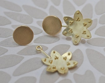 dangling 18k yellow gold granulated flower studs - contemporary jewelry