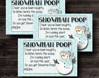 Snowman Poop- Christmas Gift Tags- 8 Printable Tags Labels- Instant Download