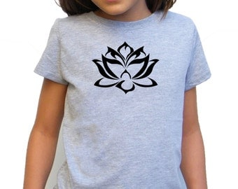 Girls Tshirt - Lotus design - Available in S, M, L, XL - 5yo, 6yo, 7yo, 8yo, 9yo, 10, yo, 11yo, 12yo