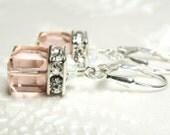 Blush Pink Earrings, Crystal Cube, Vintage Rose Swarovski, Sterling Silver, Drop, Modern Wedding, Bridesmaid Gift, Chic Spring Jewelry