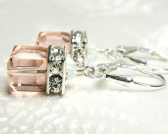 Blush Pink Earrings, Crystal Cube, Vintage Rose Swarovski, Sterling Silver, Drop, Modern Wedding, Bridesmaid Gift, Chic Spring Jewelry