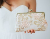 Blush & Gold Bridesmaid Clutch | Cream Floral Clutch | Ivory Bridesmaid Clutch Purse | Monogram Clutch [Adelaide Clutch]