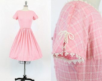 50s Lanz Dress XS / 1960s Vintage Dress Cotton Plaid / Bubblegum Years Dress