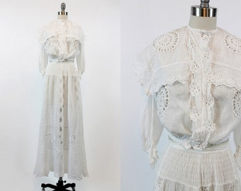 1910 Edwardian Outfit XS / Antique White Cotton Skirt and Blouse / Ohio Summer Dress