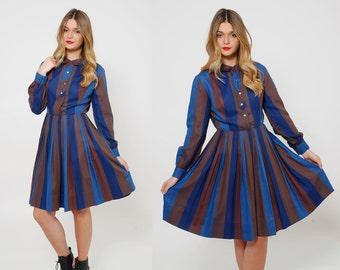Vintage 50s STRIPED Day Dress Retro PLEATED Swing Dress Long Sleeve Button Front Cotton Shirt Dress ROCKABILLY Dress