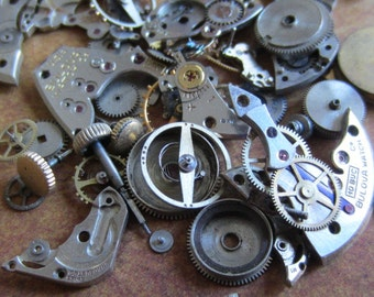 Vintage WATCH PARTS gears - Steampunk parts - b76 Listing is for all the watch parts seen in photos