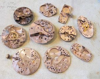 Vintage Antique Watch movements parts Steampunk - Scrapbooking u4