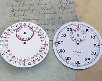 Vintage Antique porcelain topped Stop Watch Faces - Steampunk - Scrapbooking Y78