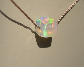 Ethiopian Welo Opal Cube Silk Necklace