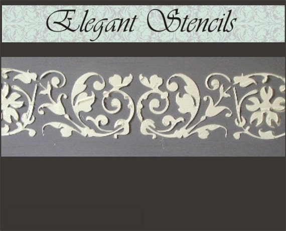 Raised plaster stencil katherine border wall stencil - Border stencils for painting ...