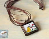Singing Bird Necklace Miniature Art Paintings in Glass Locket original wearable art mini bird & flowers tiny art gift for her Free Shipping