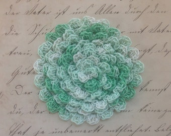 Spring Greens Hand Crocheted Scalloped Edging, Variegated Greens Crocheted Trim, Handmade Edging