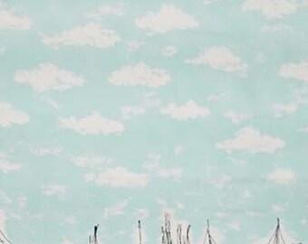 Fabric Miller Flamingo Single Border Print PC6530 Seafoam Tropical birds sailboats clouds on aqua