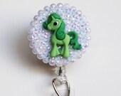 Green Unicorn Pony ID Badge Reel - Retractable ID Badge Holder -Zipperedheart