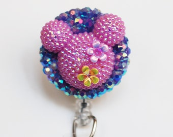 Minnie Mouse Shimmery Summer Purple Silhouette ID Badge Reel - Retractable ID Badge Holder - Zipperedheart