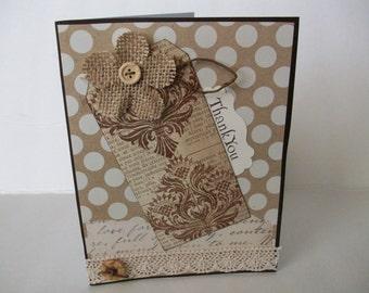 Handmade Thank You Card, Handmade Card, Brown Burlap Flower Card, Handstamped Card