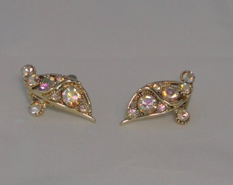 B.S.K Gold tone with AB Rhinestones Earrings.