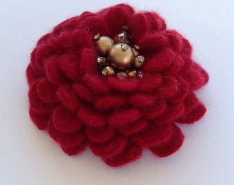 Deep Red Cashmere Flower Brooch Pin with Vintage Earring Center