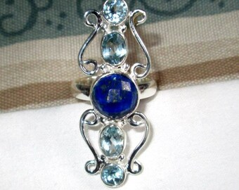 RING - LAPIS - Blue TOPAZ  - Elongated - Sterling Silver - size 8 blue302