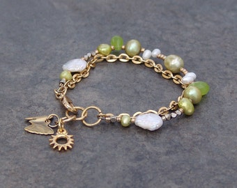 Chartreuse Green and Gold Charm Bracelet with Gold Link Chain, Sun Charm, Butterfly Charm and White Freshwater Pearls Mixed Bead Bracelet